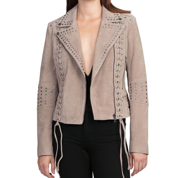 569b7d789 REAL LEATHER Bagatelle.nyc suede biker jacket NWT